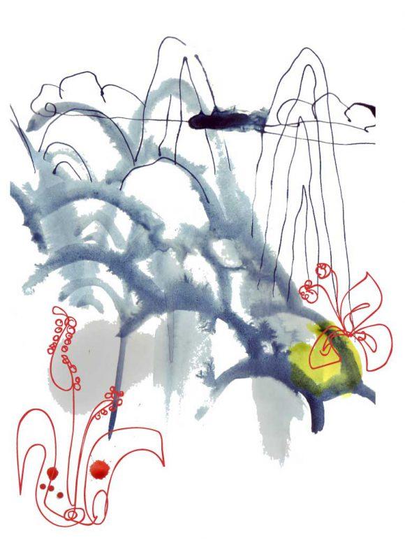 Illustration chinesische Landschaft mit Blumen