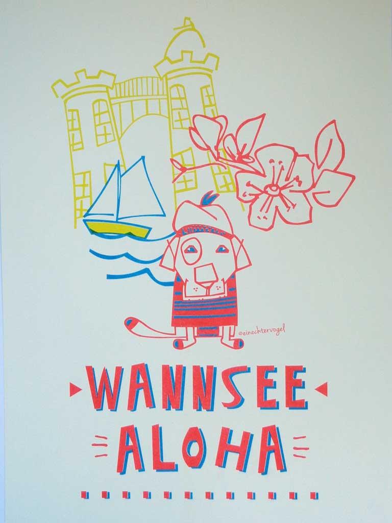 Wannsee Aloha Hund im Badeanzug