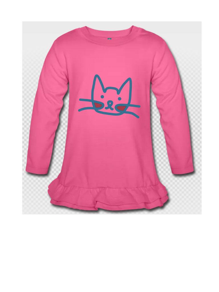 Katzenkopf auf Kleidchen.