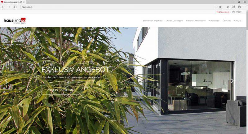 Wordpress Webseite hausundso Immobilien in Offenburg