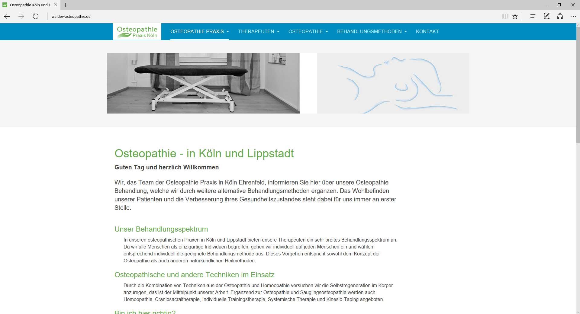 Osteopathie Praxis in Köln, Webseite.