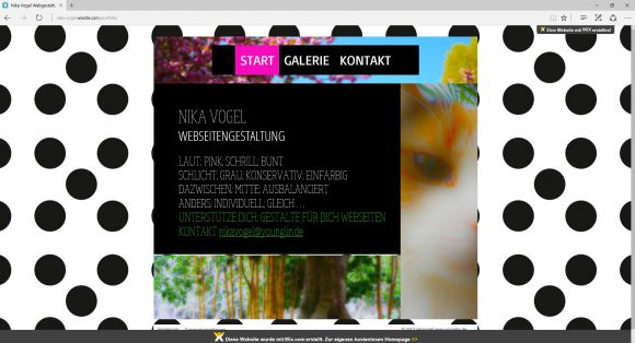 Webseite Gestaltung portfolio nika vogel