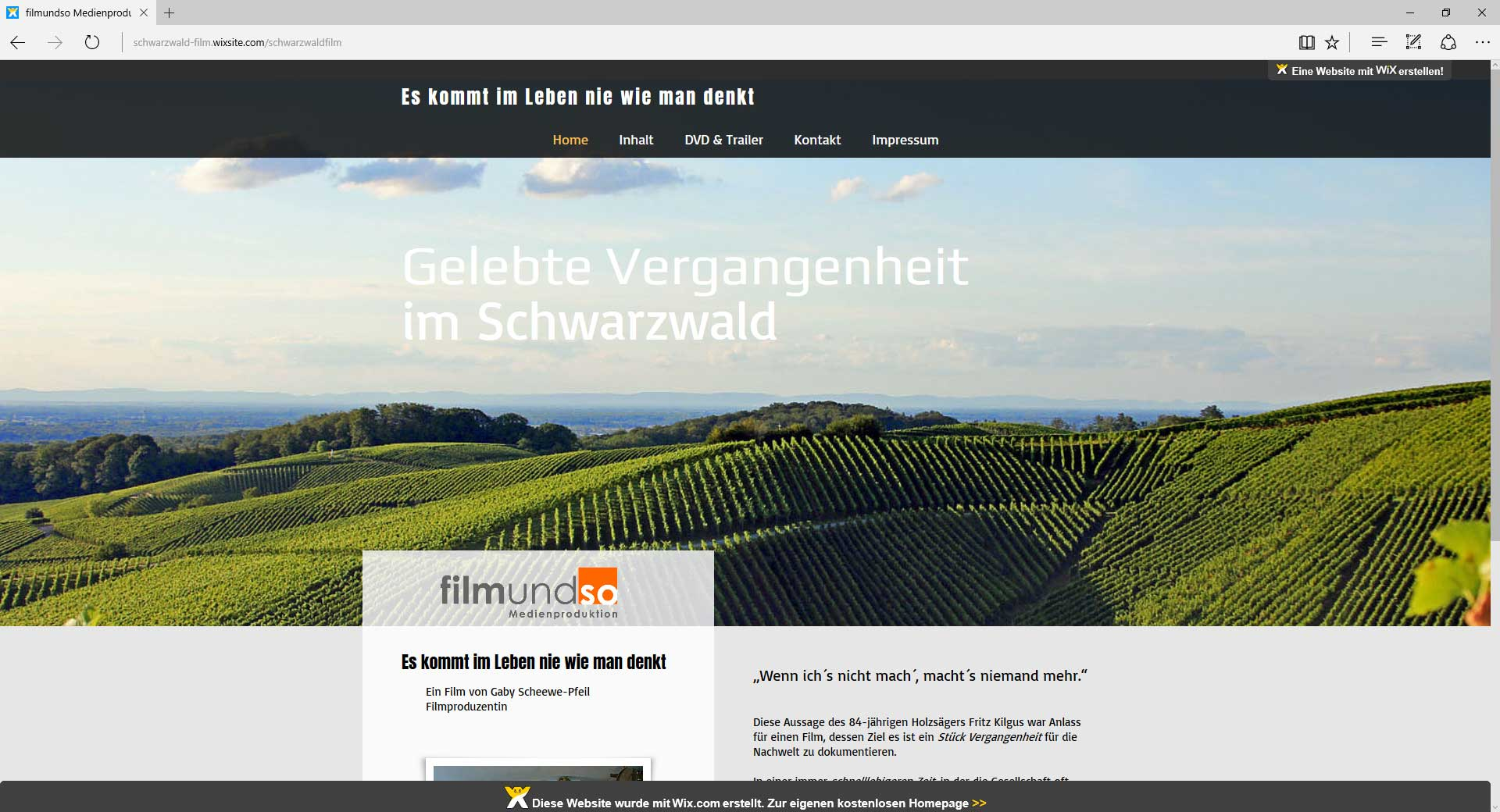 schwarzwaldfilm, Webseite.