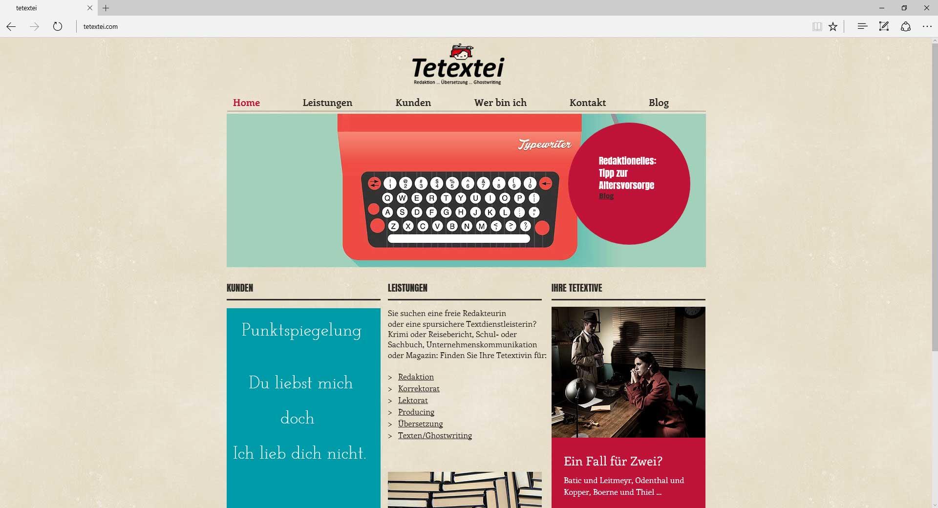 tetextei Berlin, Webseite.