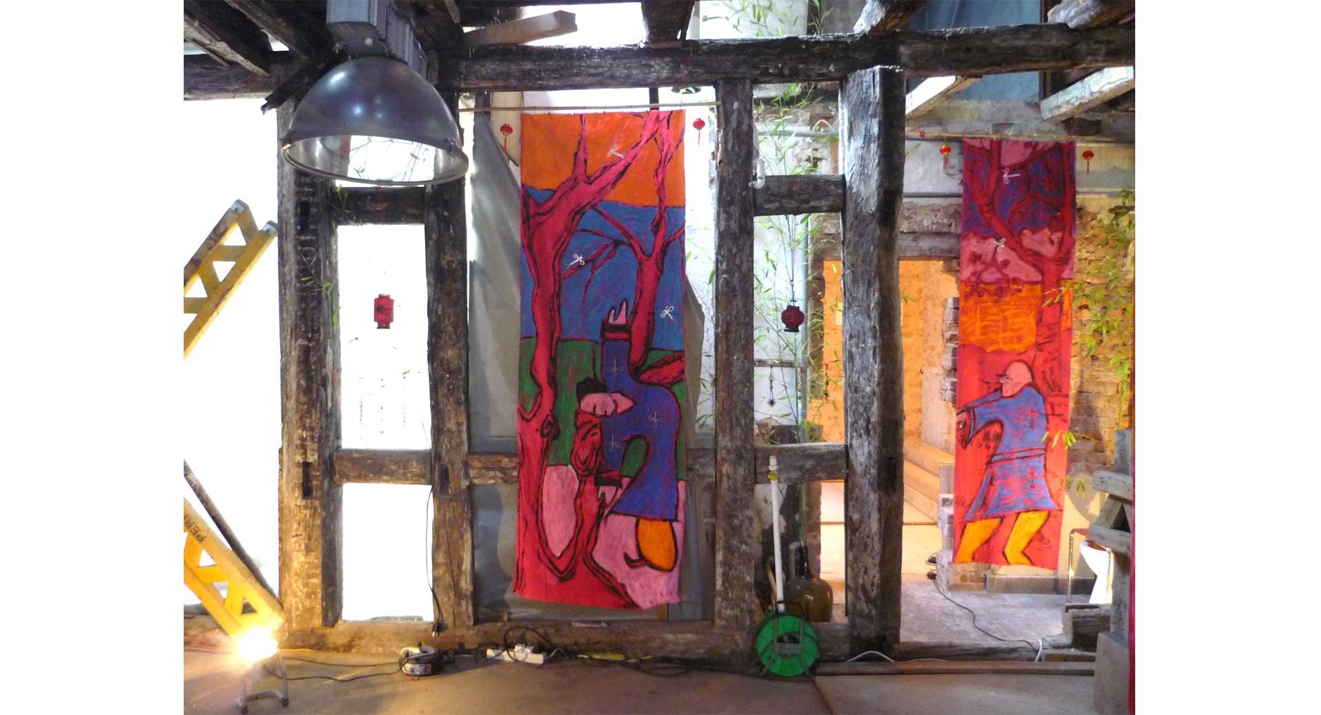 Malerei auf Stoffbahnen Ausstellung 2009 Qi Gong 1 und 3