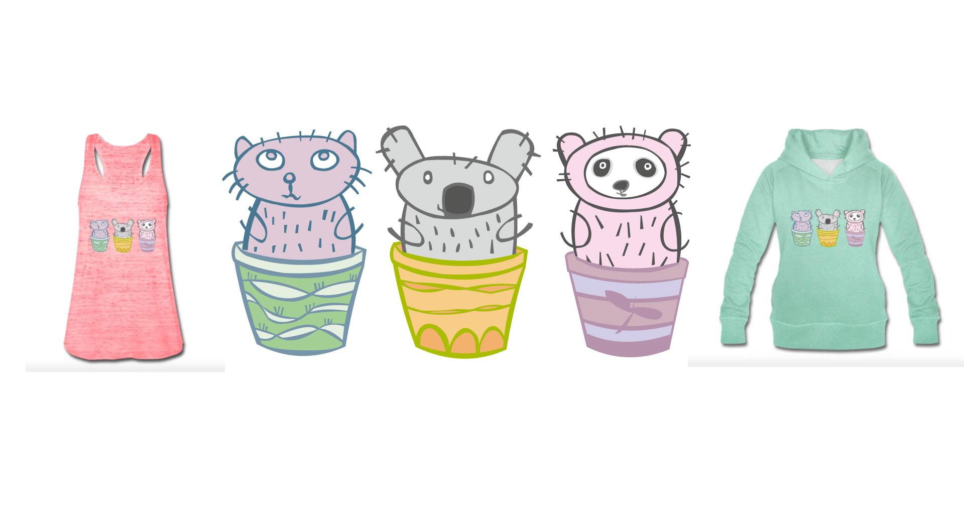 kleine Katze, kleiner Koala Bär und Baby Pandabär