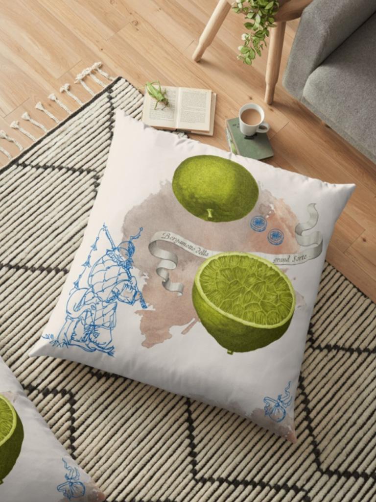 Landschaft mit Zitrone auf einem Sitzkissen