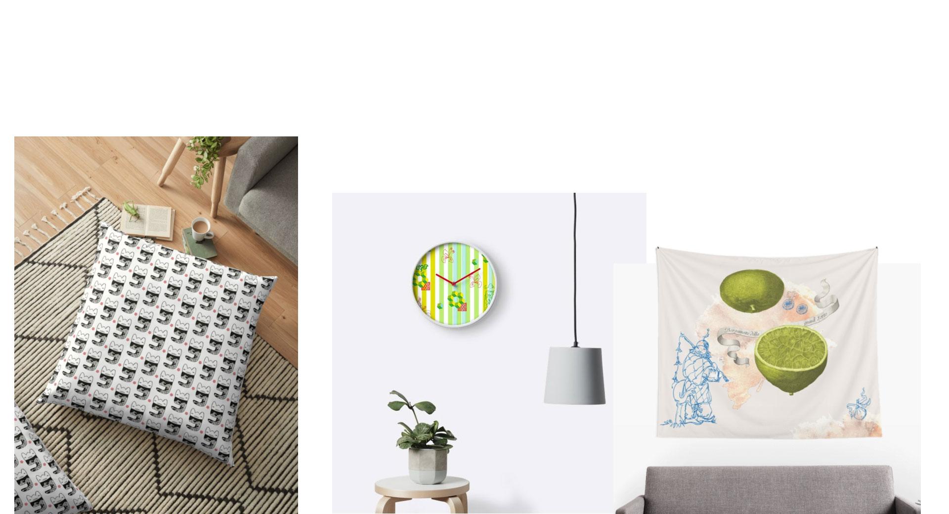 Wohnraumdekoration, Wandbehang, Kissen