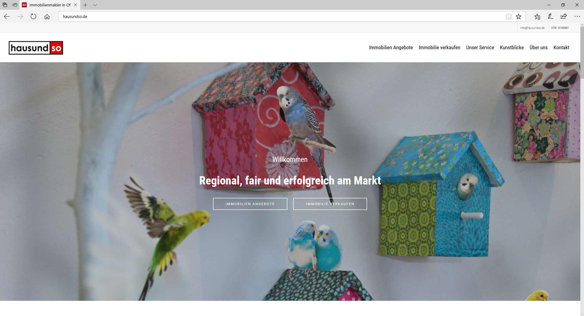 hausundso Immobilien, WordPress Webseite.