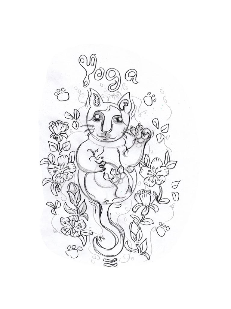 Skizze zu Yoga Katze