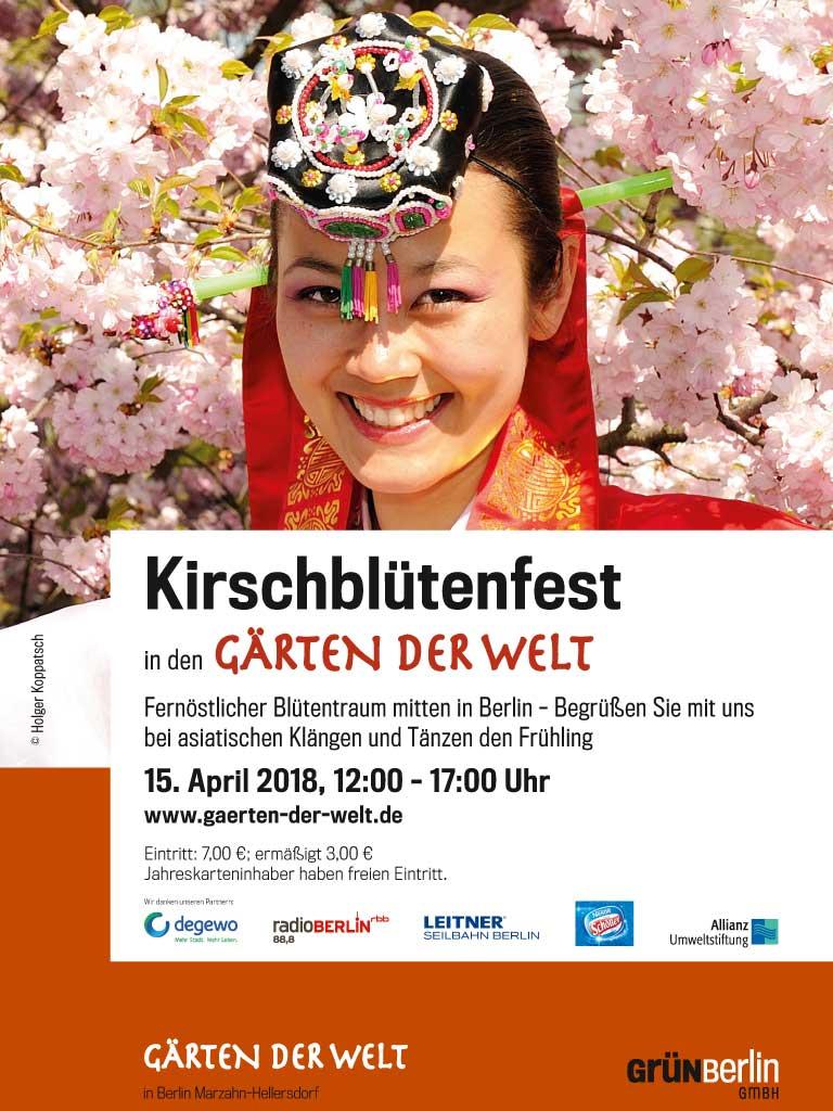 Plakat vom Kirschblütenfest in den Gärten der Welt