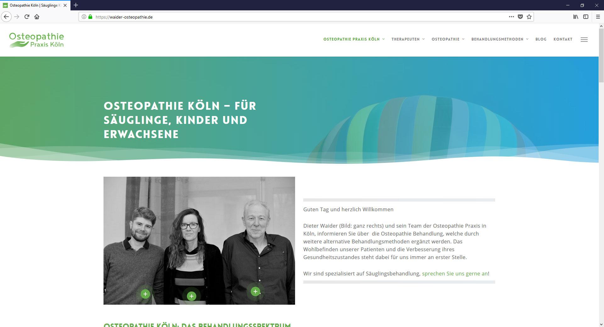 Webseite von Osteopathie Praxis in Köln und Lippstadt