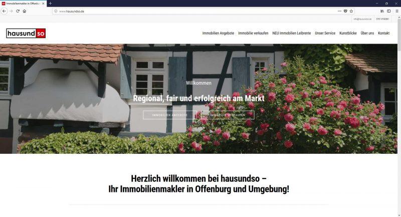 Wordpress Webseite von hausundso Immobilien und Galerie