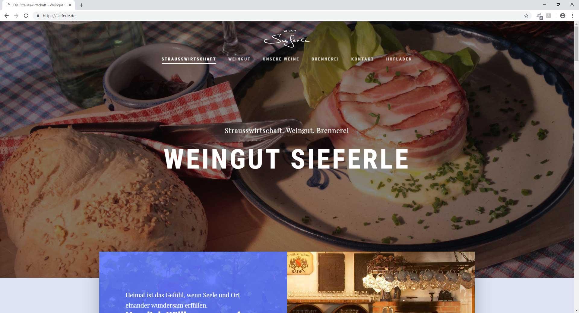 Webseite Strausswirtschaft und weingut Sieferle
