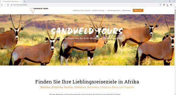 Webseite sandveld-tours. Ein Reisespezialist für Afrika Reisen